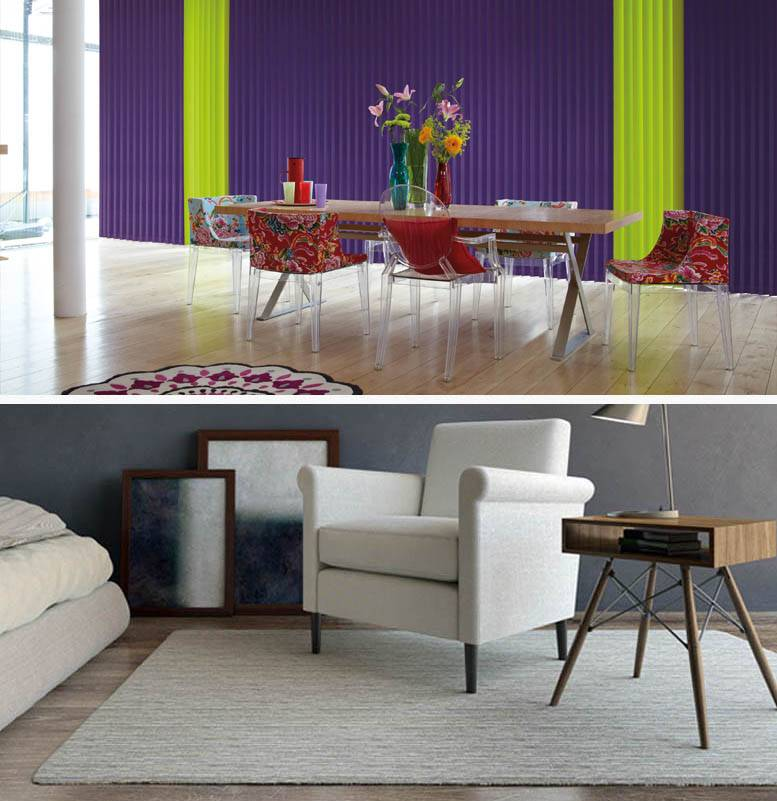 split image showing wooden flooring and blinds above and white furniture and rug in living room below